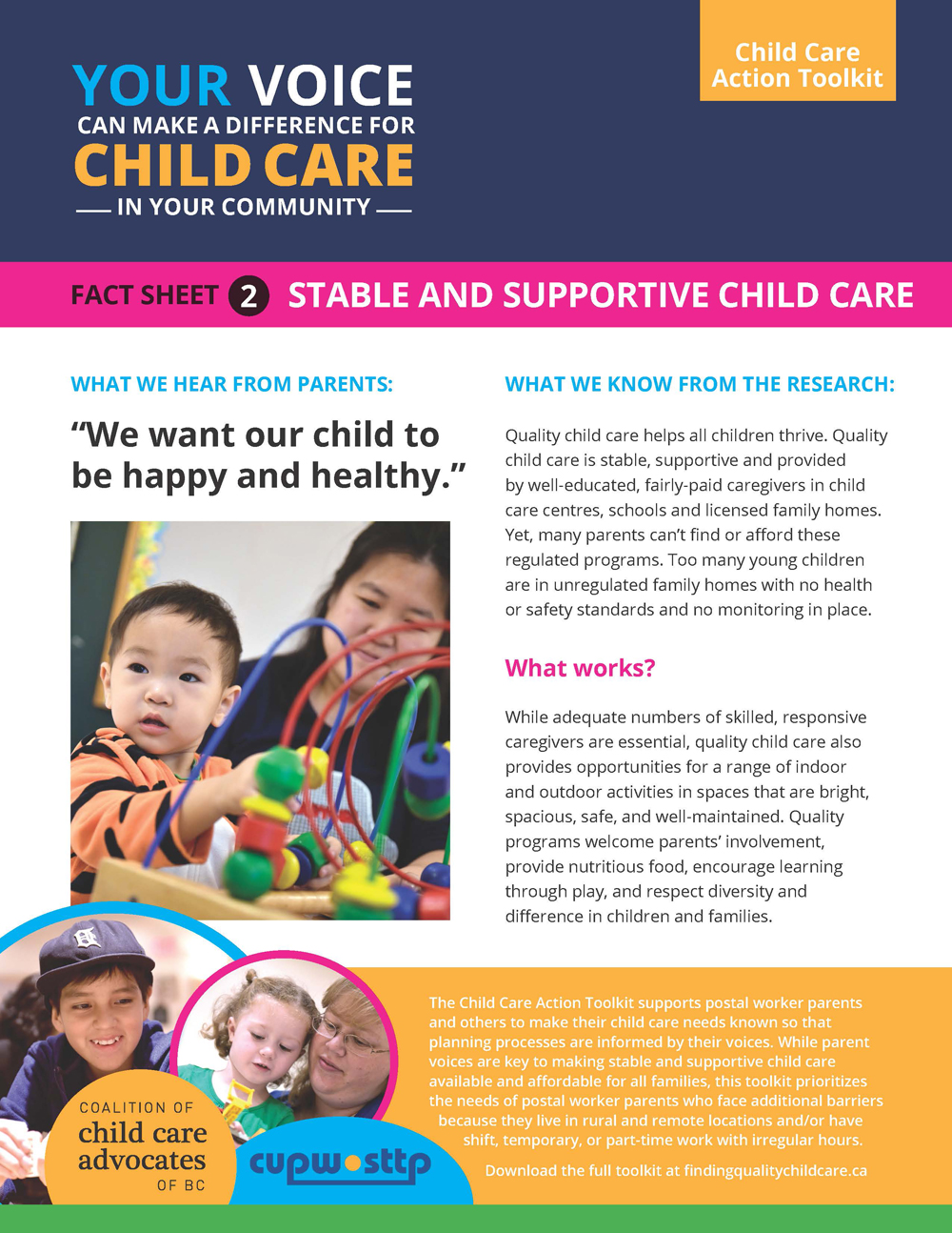 Fact Sheet 2: Stable and Supportive Child Care