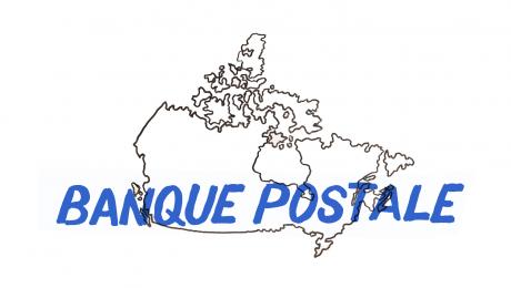 Carte du Canada affichée sur tableau blanc et sur laquelle il est écrit «BANQUE POSTALE»